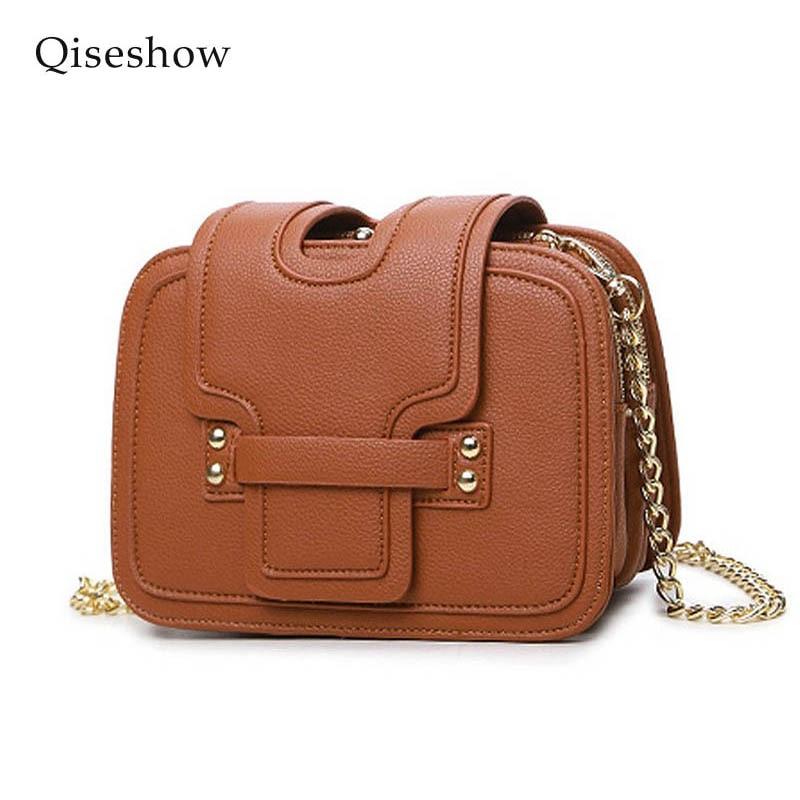 ФОТО Qiseshow 2017 new Designer chain bag Women Messenger Bags PU Leather Small Crossbody Shoulder Bags Women Red Black Casual Bag