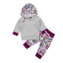 Newborn Infant Kids Toddler Baby Boy Girls Outfits Striped Floral Hoodie Tops T-shirt+Pants 2017 New Autumn Children Clothes Set
