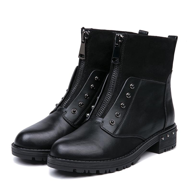 931e4e5ea98f5 getSubject() AIMEIGAO Front Zipper Black Ankle Boots For Women Warm Fur  Plush Insole Women Boots Low Heel ...