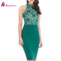 Berydress Elegant Women Wedding Cocktail Lace Patchwork Stretchy Sexy Halter Neck Keyhole Back Sheath Bodycon Pencil
