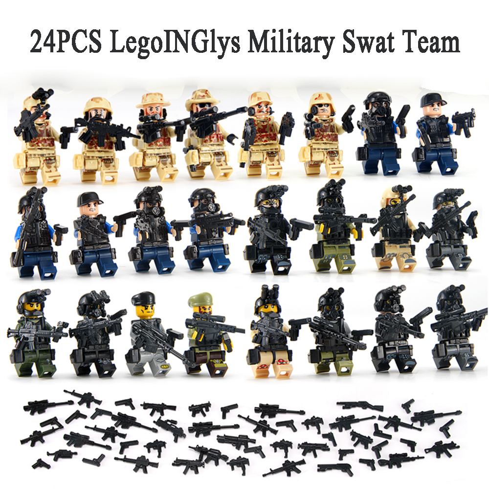 24PCS LegoINGlys World War 2 Military Swat Team City Police Armed Assault Army soldiers With Weapons