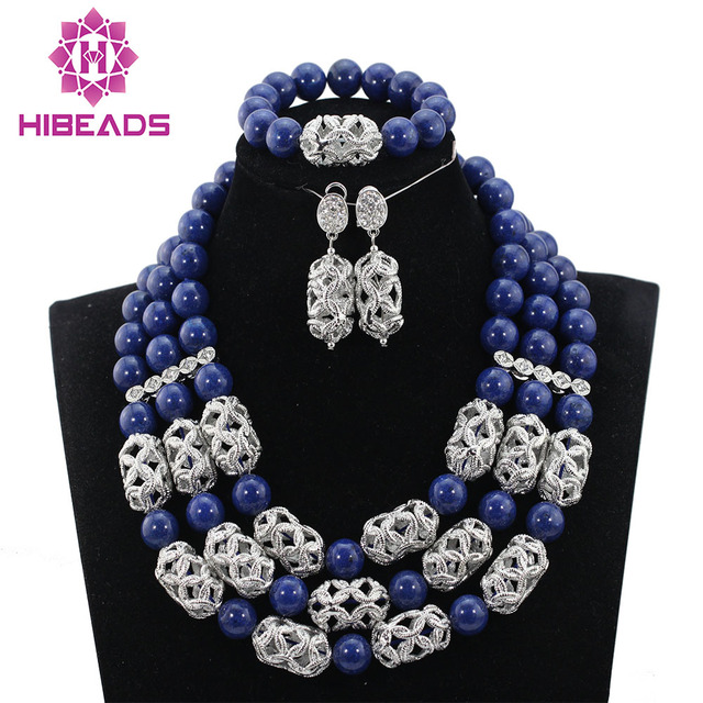 Latest Navy Blue Beads African Jewelry Sets Silver Accessories Stone Chunky Set Party Free Shipping Hibeads001