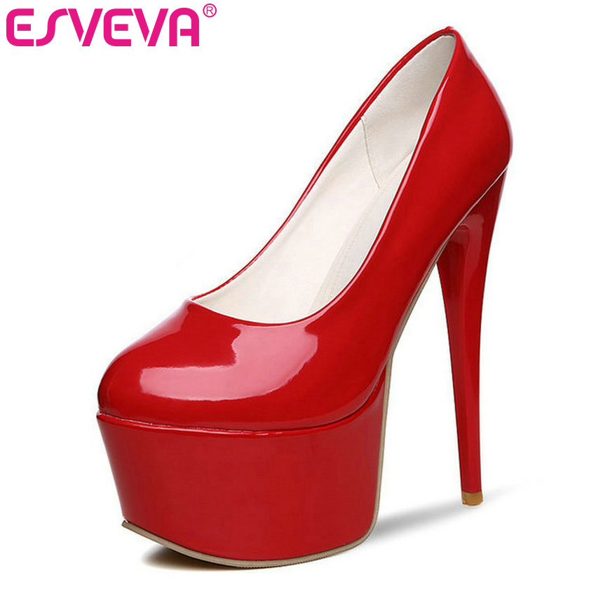 ESVEVA 2017 Super High Heel Women Pumps Autumn Spring Shoes Platform  Thin Heel White Wedding Shoes Pu Sexy Pumps Size 34-39 asumer 2017 new high quality flock women pumps pointed toe high heels 8cm office lady dress shoes woman black wine red