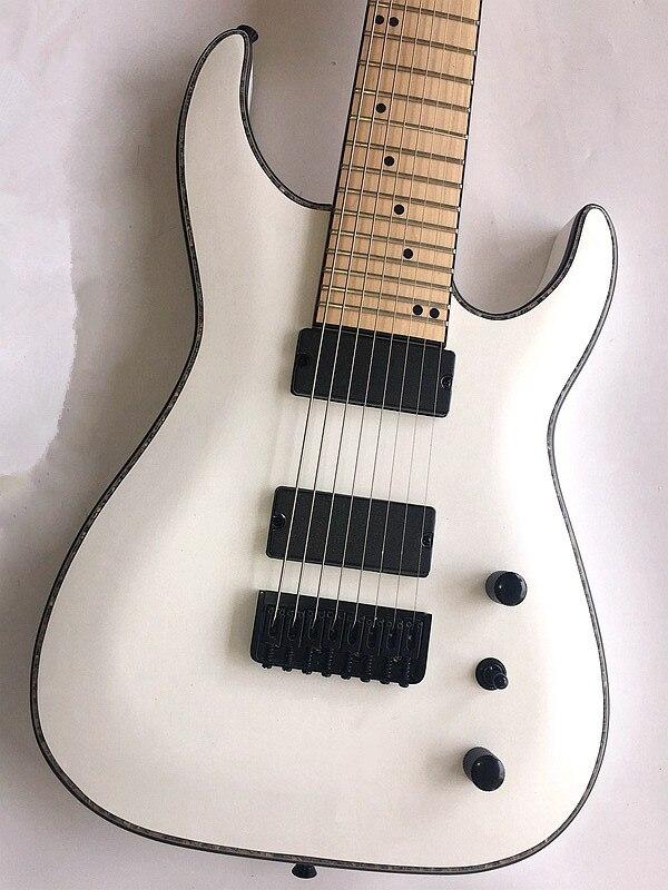 Guitare électrique sans fret, guitare à 8 cordes, accessoires noirs, touche en érable, si vous avez besoin d'autres guitares, vous pouvez envoyer une photo - 2