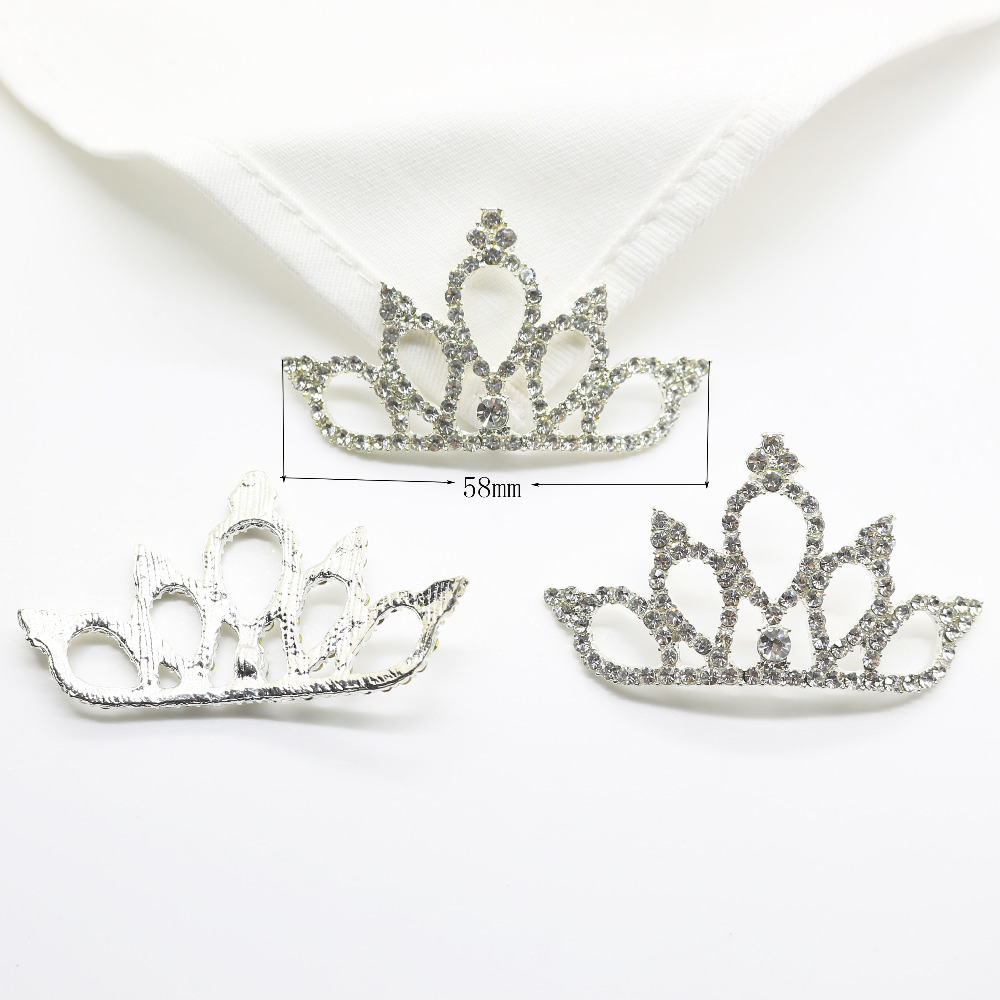 5 pcs / pack flatback rhinestone tiara crown Mini Alloy Crown For Wedding Decoration Metal Rhinestone Button For Hair Accessor
