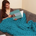 Soft Hand Chunky Knitted Blanket Plaids for Winter Bed Sofa Plane Thick Yarn Knitting Throw Sofa Cover Blankets