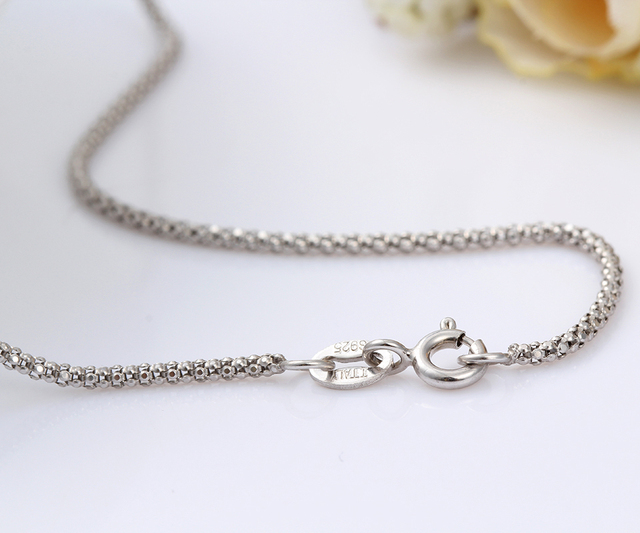 7 Size Available 925 Sterling Silver Popcorn Chain Short Choker Necklace Women Girls Jewelry Colar Collier Collares Mujer Kolye