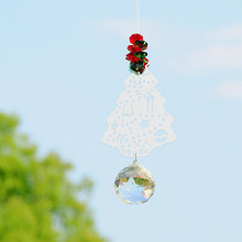 5PCS 40mm Glass Crystal Ball Metal Christmas Tree Chandelier Part Prism Hanging Pendants Suncatcher Weeding Party