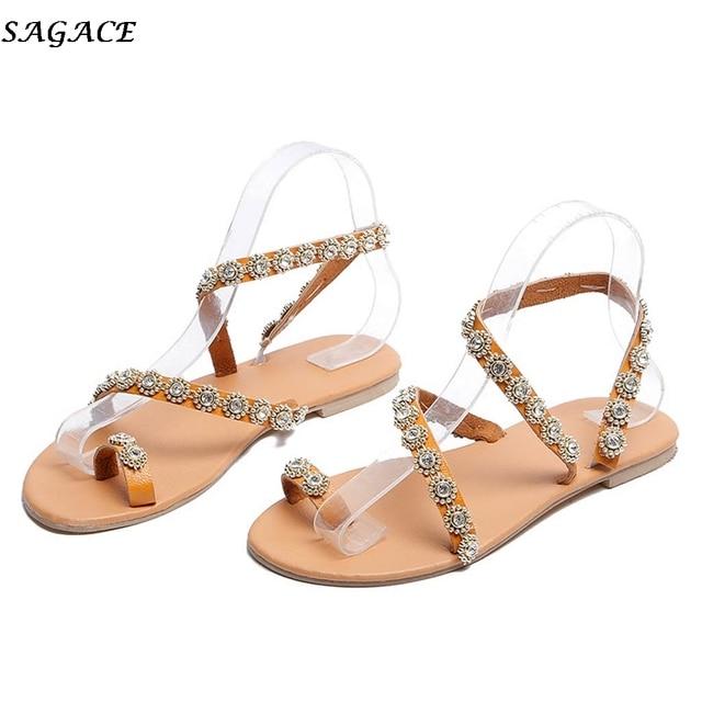 507b94f7b SAGACE 2019 Summer Women's sandals Women Fashion Rome Open Toe Rhinestone  Decoration Flats Slip On Beach Casual Sandals Shoes#30
