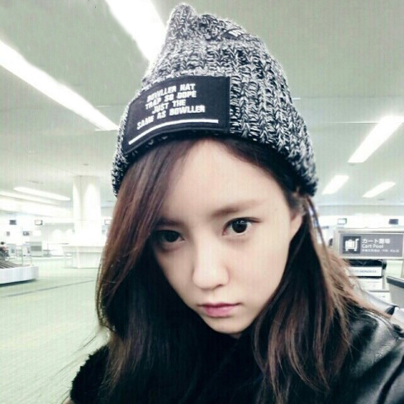 New Fashion Woman's Warm Woolen Winter Hats Knitted LOGO Cap For Woman Sooner State Letter Skullies & Beanies 2 Color Gorros 2016 new fashion letter gorros hats bonnets