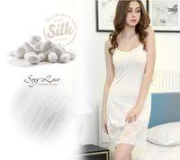 100% Silk Lace Women Sleepwear Ladies Sexy Lingerie Sleepdress Babydoll Nightdress Nightgown Sleepshirts Homewear 3 color 3 Size