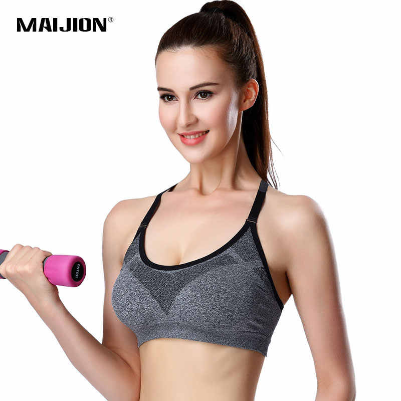 71a00cd2bd MAIJION Women Professional Adjustable Spaghetti Straps sportes Bra Tank Top  Seamless Padded Stretch brassiere Push Up