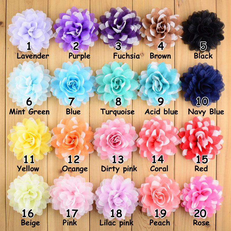 20 different colors lapel flower wedding hair blossom Hair flower chiffon 9 cm