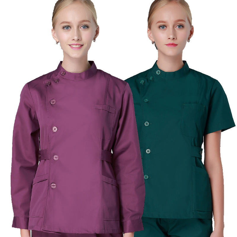 2018 Womens Scrub Sets Winter Workwear Nurse Scrub Suits 2 Pieces Button Front Tunic Trousers Solid Color Medical Clothing Tall