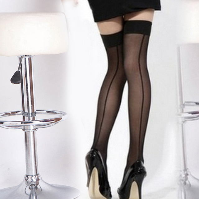 244e0ccaba914 Wholesale Nylon Stockings Women's Sexy Perspective Striped Stockings Lady  Thigh High Pantyhose Long Stocking