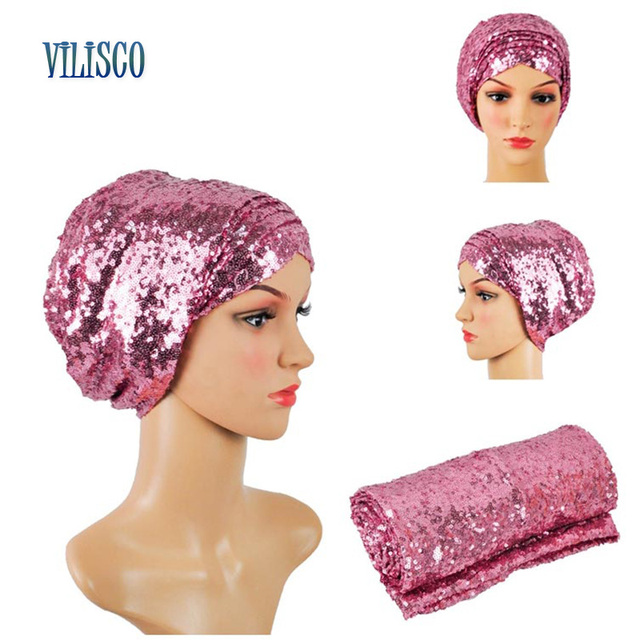 Multi-colored Headwear Sequin Turban African Headwrap African Headties Sego Gele Head Tie for Women Party Winter Headscarf XH05 1