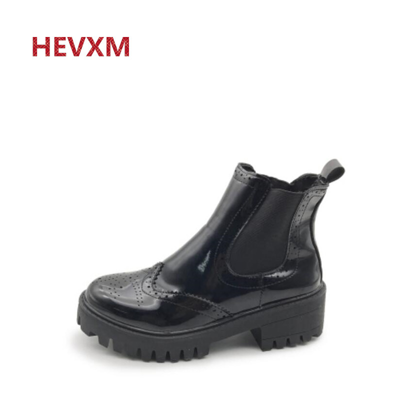 HEVXM 2017 Autumn and winter new British retro leather shoes with short boots Martin boots women boots shoes woman autumn and winter new leather shoes with leather boots and boots with flat boots british classic classic hot wild casual shoes