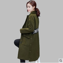 2016 Winter New Women Large size Woolen jacket Medium long Korean Fashion Slim Thin Wool coat Thick Warm Cotton coat Jacket AB70