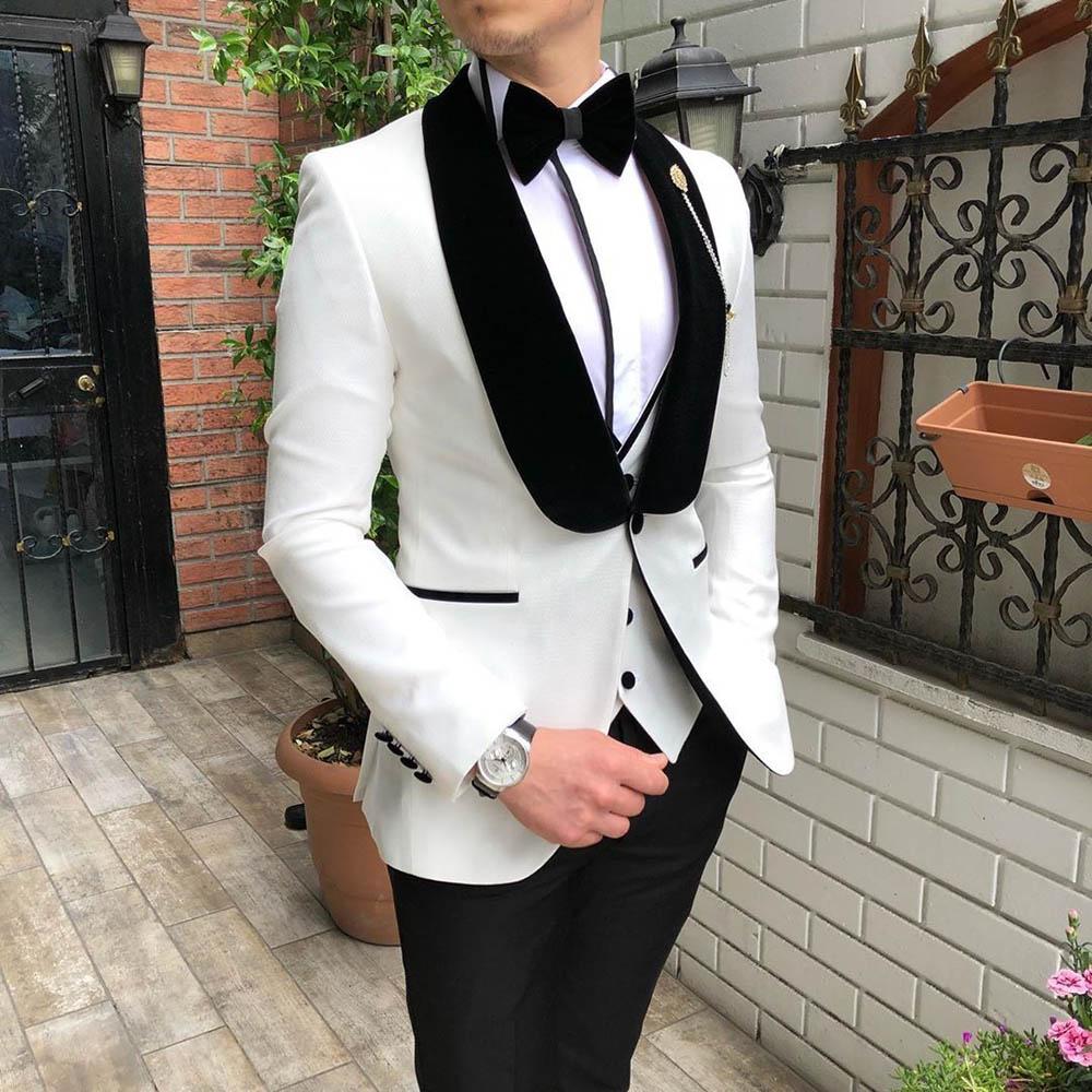 Aesido Mode herren Anzüge 3 Stück Slim Fit Prom Smoking Tweed Schal Revers Hochzeit Bräutigam Blazer Weste Hosen Großhandel 2020-in Anzüge aus Herrenbekleidung bei  Gruppe 1