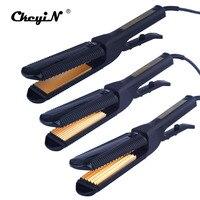 CkeyiN 3 In 1 Electric Hair Straightener Crimper Corrugated Curl Hair Plate Titanium Flat Iron Curling