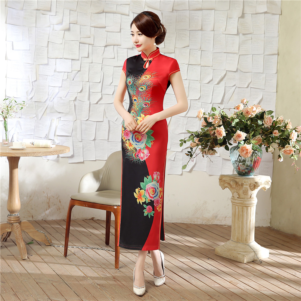 Vintage Peacock Pattern Chinese Bride Wedding Cheongsam