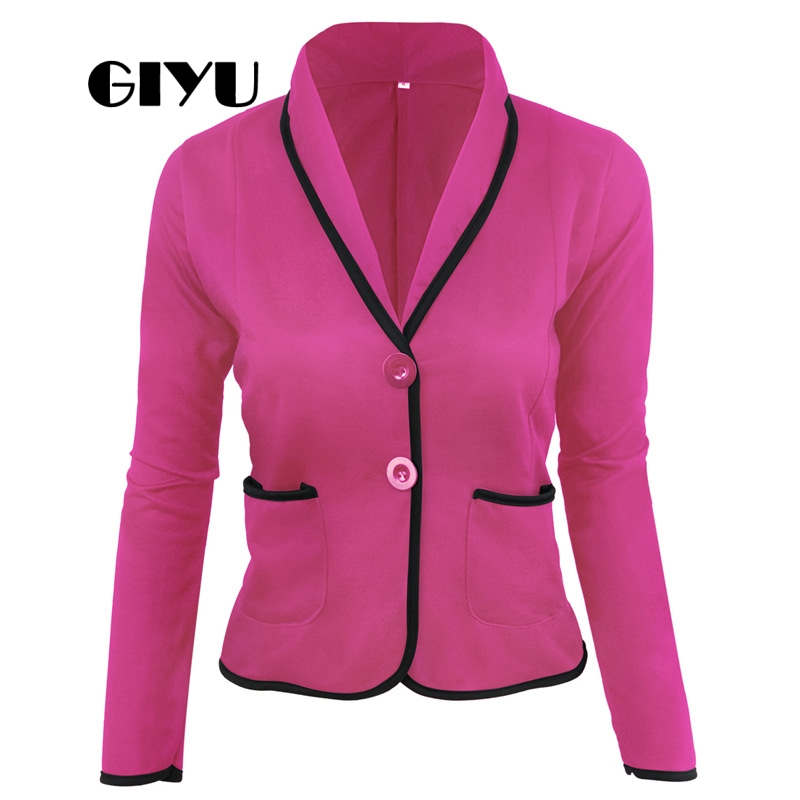 GIYU 5XL Autumn Women Patchwork Casual Blazer Long Sleeve Jackets Pockets Tops Casual Single Breasted Plus Size Camiseta Mujer