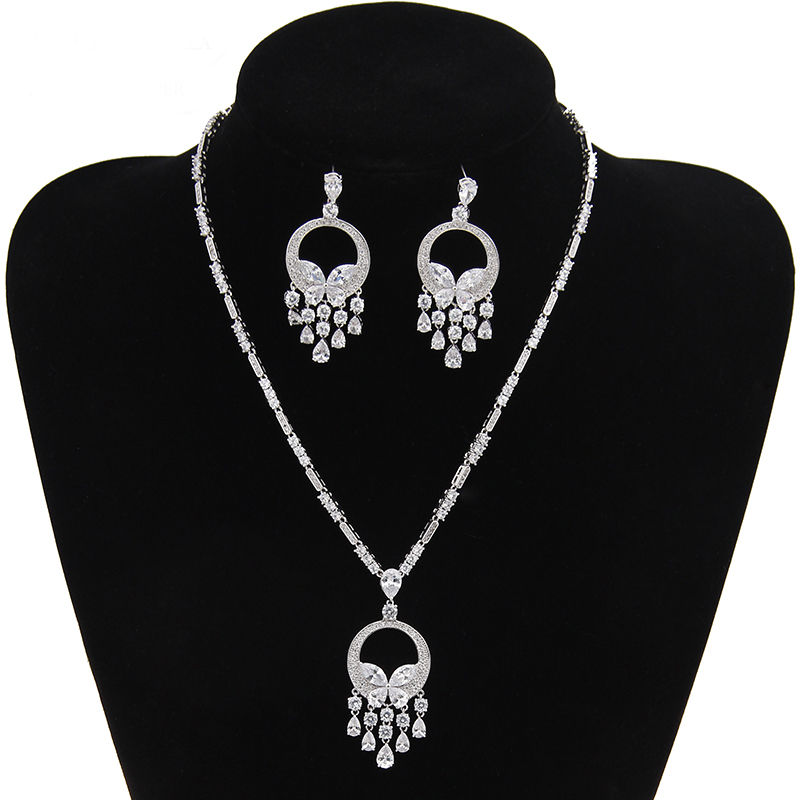 2017 New Fashion Leaf Water Droplets Wedding Jewelry Set Maxi Necklace AAA+ Cubic Zirconia CZ Stone Jewelry Sets For Women AS013 a suit of chic rhinestoned leaf wedding jewelry set for women