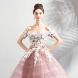 Pink Wedding Dresses Ball Gown Off Shoulder Short Sleeves Tulle White Lace Appliques Floral Vestido De Noiva Saudi Arabia Bridal 5
