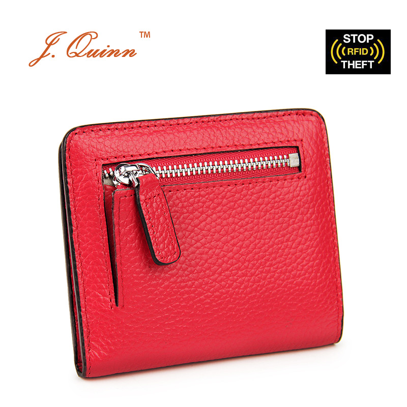 J.Quinn New Female Small Thin Genuine Cowhide Leather RFID Wallets with Zipper Coin Purse for Women Ladies Front Pocket Wallet
