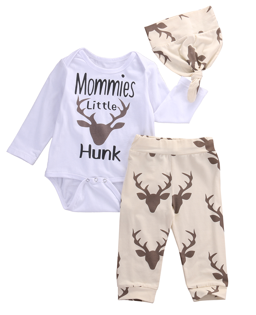2016 kids boys clothes baby Deer clothing sets Newborn ...