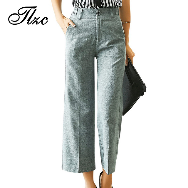 Tlzc 2017 модные женские брюки широкую ногу дизайн плюс размер м-6xl повседневная леди свободные прямые брюки черный/серый