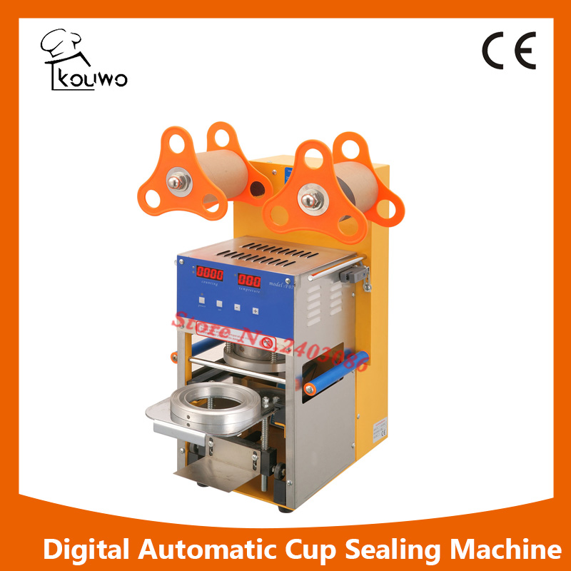 KW-F07 commercial use Digital automatic fruit juice food plastic cup sealing packing machine for beverage
