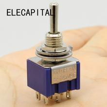 Promocja! 5 sztuk 3 pozycji 2P2T DPDT ON-OFF i staje w sytuacji sam na sam miniaturowe Mini przełącznik tanie tanio Przełączniki 2 lata życia W ELECAPITAL MTS-203 ON-OFF-ON