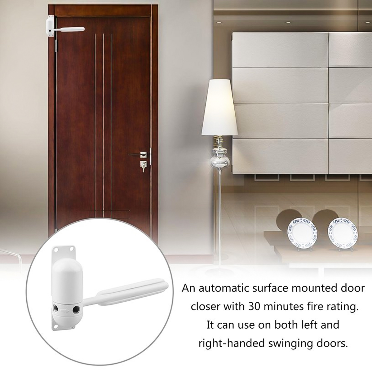 Adjustable Tension Surface Mounted Automatic Door White/Grey Closer Spring Loaded For Auto Closing