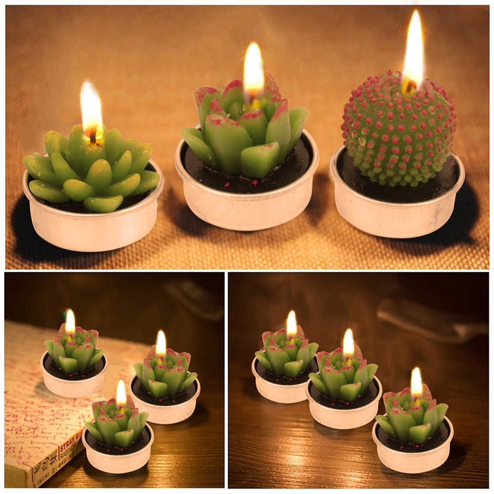 2019 New 12pcs/set Aromatherapy Craft Candles Simulation Succulent Cactus Lovely Plants Candles Smokeless Valentine's Gift