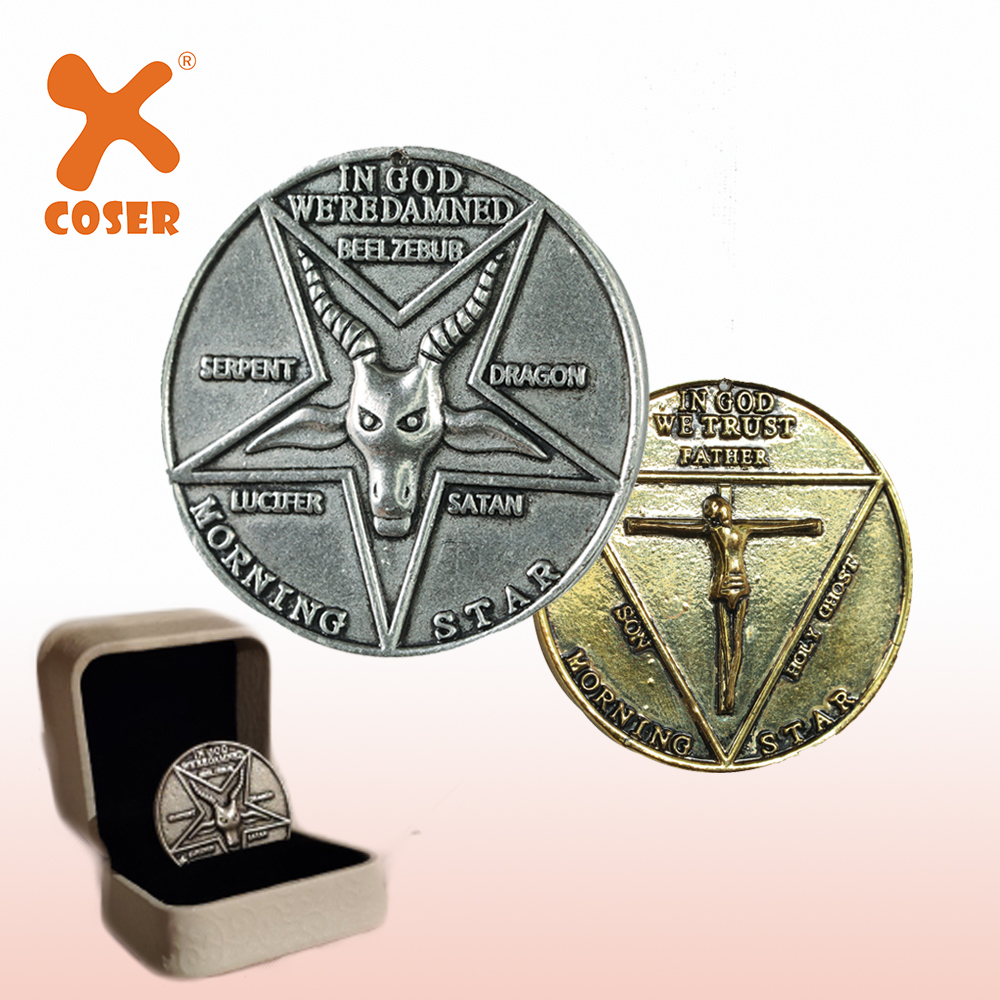 XCOSER Lucifer Pentecostal Coin Silver&Gold Coin High Quality Brand Sale Cosplay Accessories Movie Costume Prop For Fans