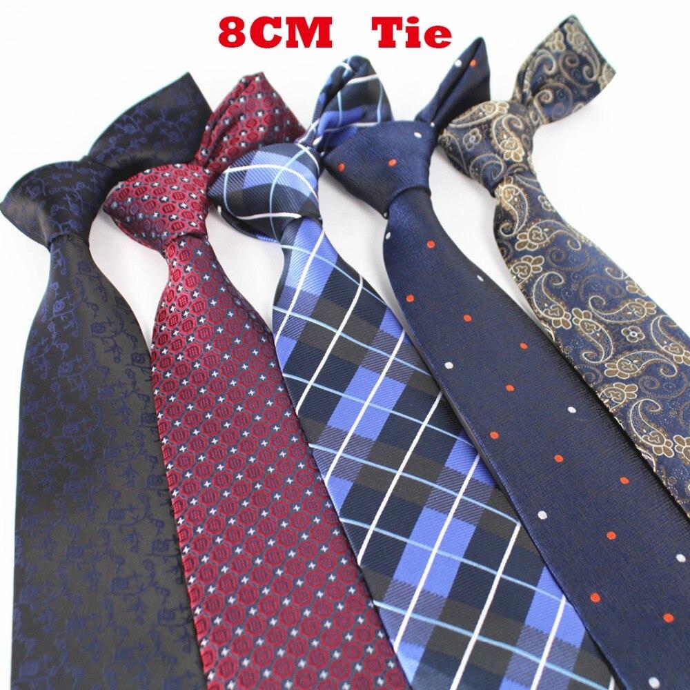 designer silk ties zx0g  RBOCOTT New 8cm Jacquard Woven Silk Tie For Men Striped Neckties Man's Neck  Tie For Wedding