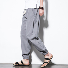 Summer cool Men Pants Cotton Linen breathable Casual Loose pencil pants Harem Joggers Sweatpants Chinese Kungfu Mens pant