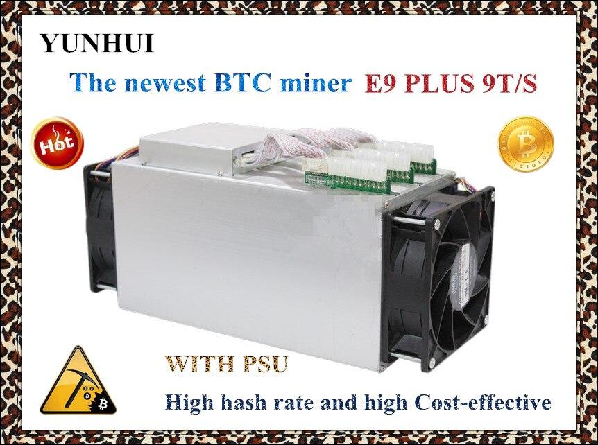 Date 14nm Asic Mineur BTC Mineur UTILISÉ Ebit E9 Plus 9 T (avec alimentation) bas prix que S9 bonne économie mineur.