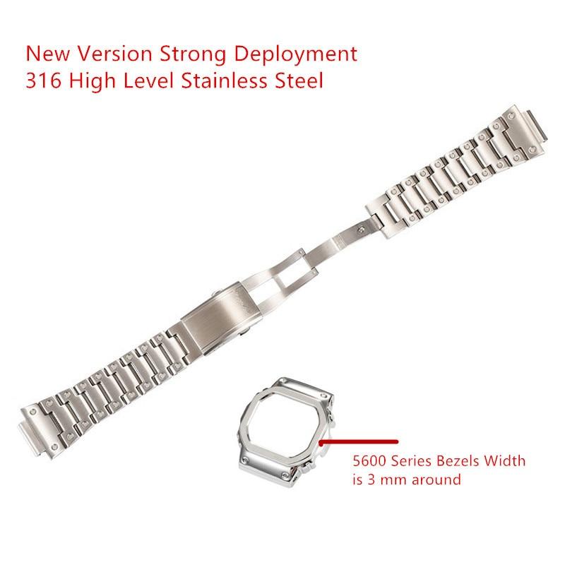 Bracelets de montre et lunette en acier inoxydable 316L pour G Style DW5600 GW5000 5035 GWM5610 Bracelet de ceinture en acier avec Bracelet en métal correa reloj-in Bracelets from Montres    1