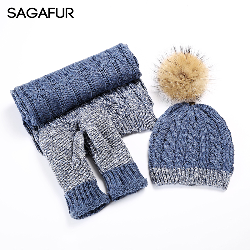 Winter Hat Scarf Gloves Set Beanies Ladies Mixed Color Wool Blends Knitted Hat Fur Mink Fur Pompoms Hat Female 2018 New Warm Cap