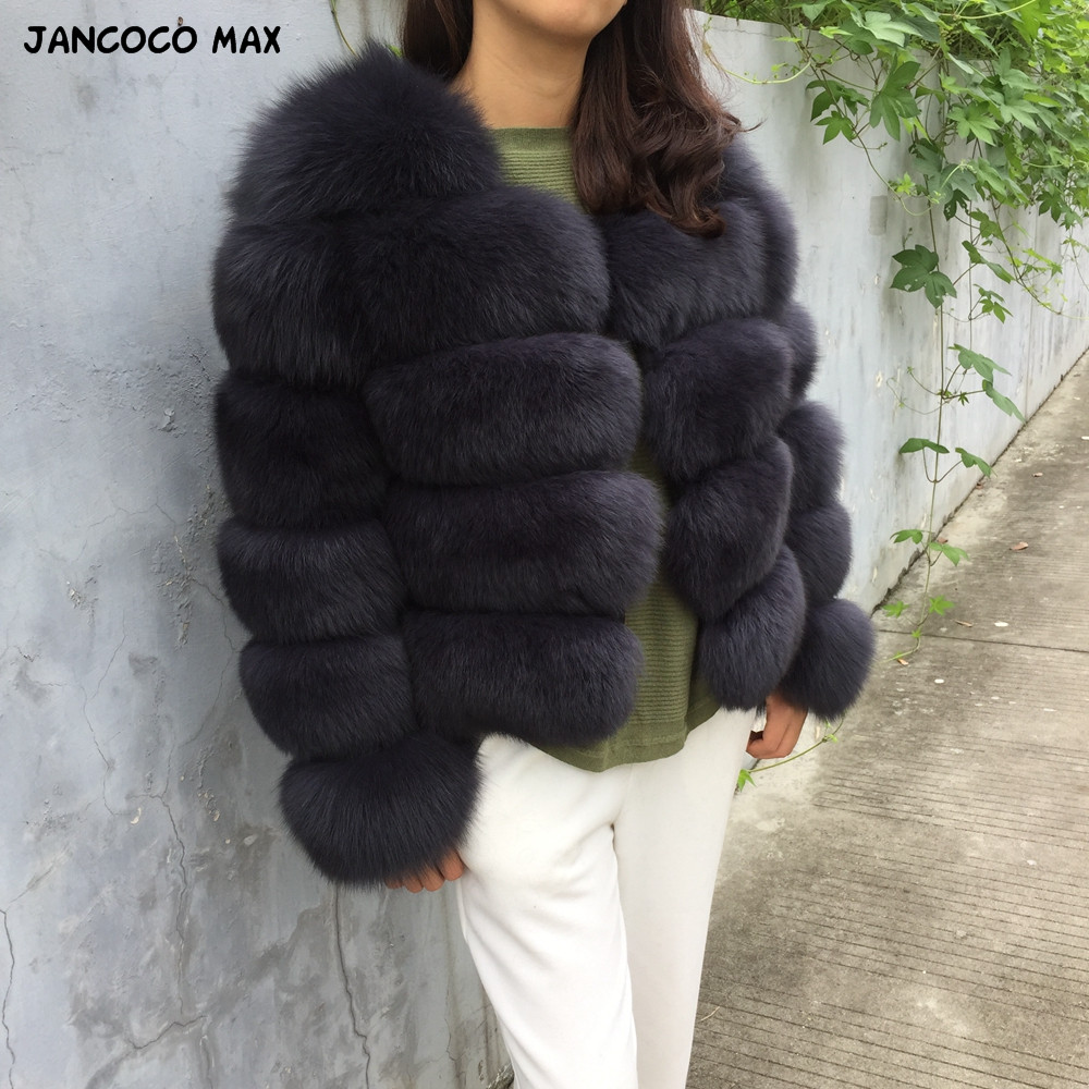 Jancoco Max 2019 Women Real Natural Fox Fur 5 Rows Full Sleeve Coat Outwear Winter Thick Warm Fashion Crop Jacket S1796B