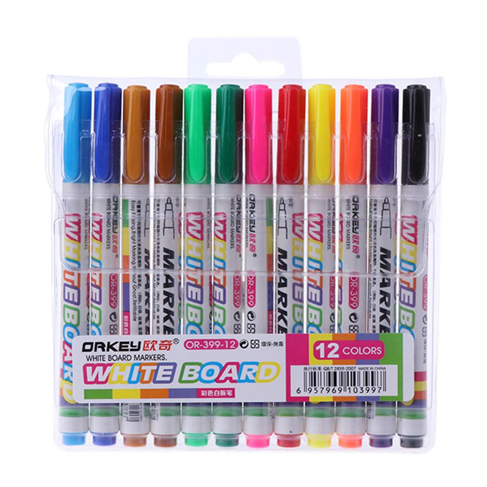 12 Colors Whiteboard Marker Non Toxic Mark Sign Fine Nib Set Supply