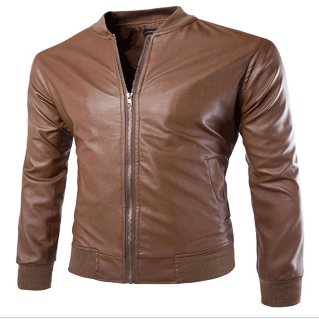 Leather Jacket Male Fashion Pure Color Jaqueta Couro Masculina Foreign Trade Man Collar Cotton Leisure Washing Leather