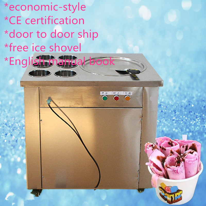 CE  fried ice cream roll machine, Fried ice pan machine,one pan with 6 buckets fry ice machine R22/R404A/R401A accept cunstomize