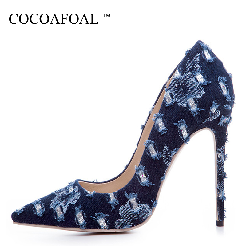 COCOAFOAL Woman Denim Pumps Plus Size 33 - 43 Pointed Toe Fashion Sexy Wedding Pumps Party Stiletto 12 CM Ultra High Heels ShoesCOCOAFOAL Woman Denim Pumps Plus Size 33 - 43 Pointed Toe Fashion Sexy Wedding Pumps Party Stiletto 12 CM Ultra High Heels Shoes
