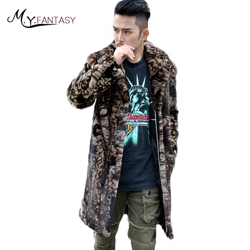 Jacket Real-Fur Mink-Coat USA Cool Long M.Y.FANSTY Turn-Down-Collar Causal Camouflage