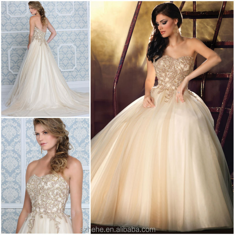 Bridals CW2912 Glamorous Embroidery Puffy Ball Gown Wedding Dress 2015 In Cream  Color In Wedding Dresses From Weddings U0026 Events On Aliexpress.com | Alibaba  ...