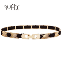 New Fashion Women Ladies Thin Gold Feather Pattern Metal Buckle Elastic Stretch Waistband Waist Belt For