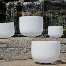 Size 8 to 14 432hz Chakra Tuned Set of 7 Frosted Quartz Crystal Singing Bowls With note CDEFGAB 7pcs/set